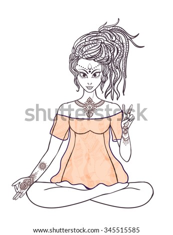 Girl meditates in the lotus position. Geometric element hand drawn Ornament stylization. Hippie culture. Dreadlocks. Promotion of peace and love. Yoga pose meditating in pose lotus - stock vector