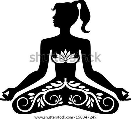 Girl meditation - stock vector