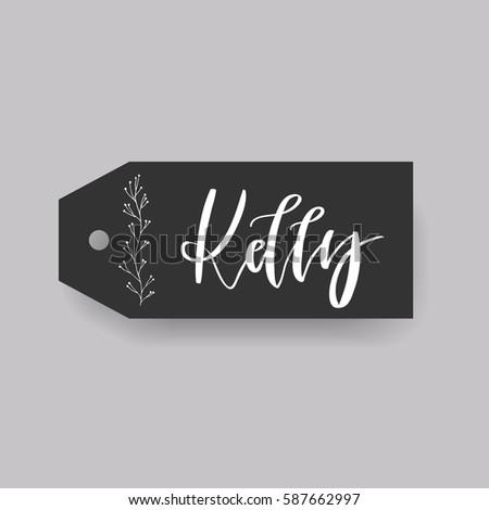 Girl Name Kelly Calligraphy Lettering Black Stock Vector ...