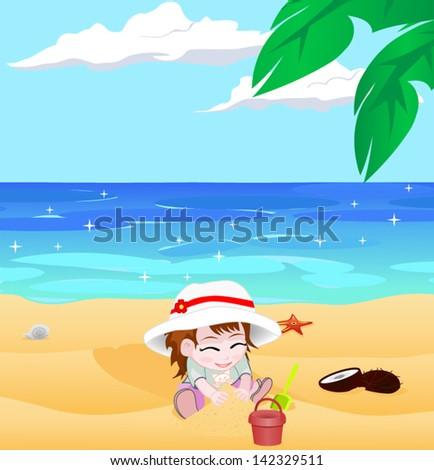 girl on a beach vector - stock vector