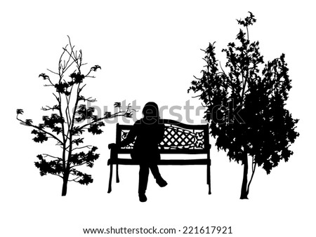 girl on a bench in the park - stock vector