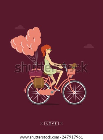 Girl on a bicycle  - stock vector