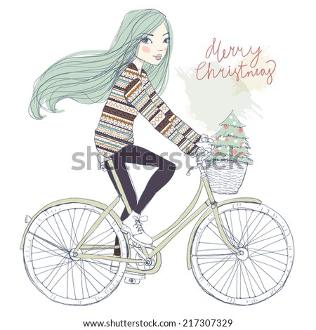 girl on a bicycle with a Christmas tree - stock vector