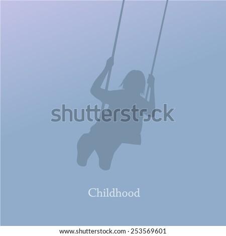 Girl on a swing. Vector - stock vector