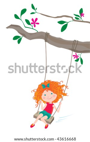 Girl on a swing. Vector illustration of a pretty curly girl swinging. - stock vector