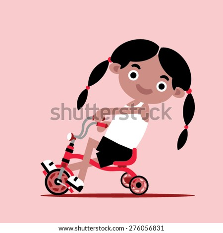 Girl on a tricycle - stock vector