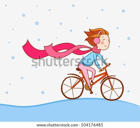 girl on bike, winter background - stock vector