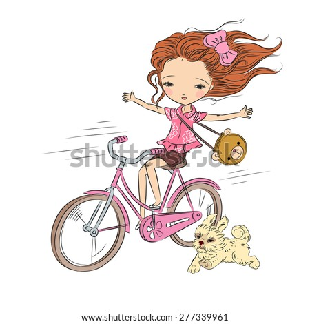 Girl on pink bike with puppy - pink mood. Hand drawn vector illustration - stock vector