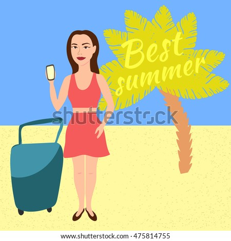 Girl on the beach with a palm tree. It uses the phone. Best summer. The concept of tourist travel. Vector illustration.