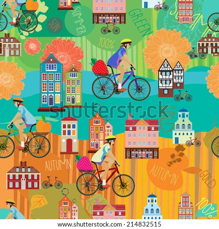 Girl on the bike. Summer seamless background. Autumn seamless background. Vector pattern. Color children's seamless pattern. Cartoon seamless pattern with child. Children's Cycling.