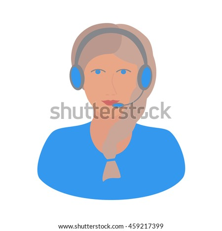 girl operator or female assistant, an online consultant for the site with headphones and a microphone in blue and with a pigtail