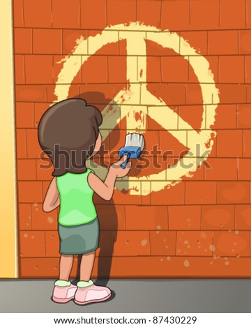Girl painting peace symbol - stock vector