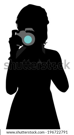 Girl photographer taking a picture, vector