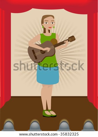 Girl Playing Guitar on Stage - stock vector