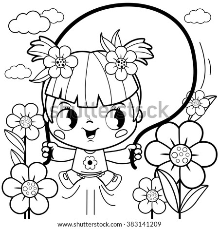 Girl  playing in the flower garden. Coloring book page  - stock vector