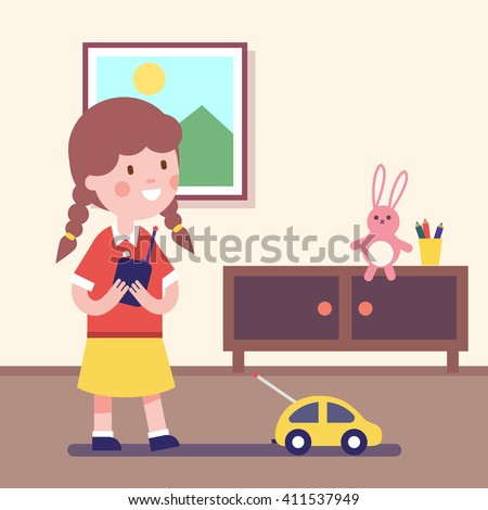 Girl playing with rc car with remote control in hands. Modern flat vector illustration clipart. - stock vector