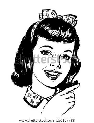 Girl Pointing - Retro Clip Art Illustration