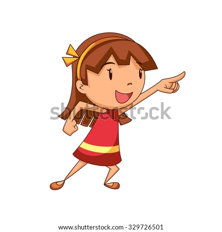 Girl pointing, vector illustration - stock vector
