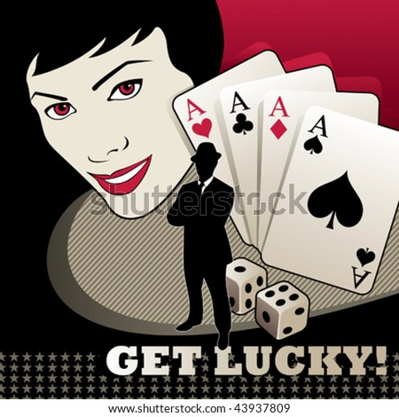 Girl portrait with cards and dices. Vector illustration. - stock vector