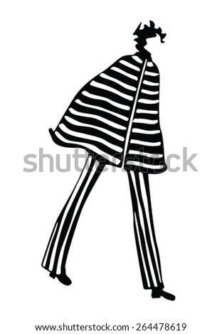 girl posing fashion silhouette - stock vector