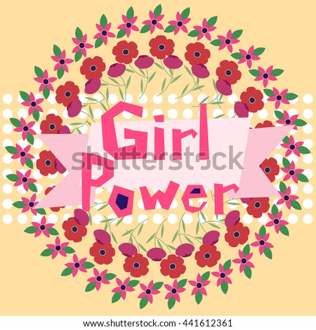 Girl power vector illustration in flat style. Feminism symbol. Can be used for t shirts, wall art, posters - stock vector