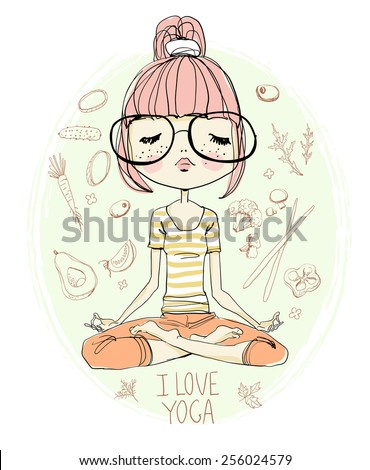 Girl Practicing Yoga - stock vector