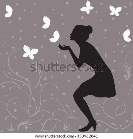 Girl profile silhouette and white butterflies
