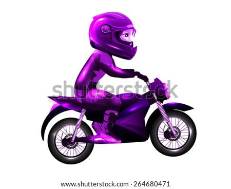 Girl Racing With Shiny Purple Suit on White Background - stock vector