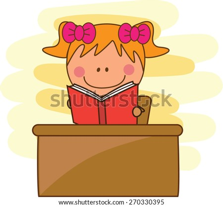 girl reading a book at library - stock vector