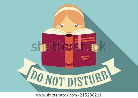 Girl reading a book, do not disturb sign, imagination and education concept, vector - stock vector