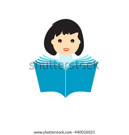 Girl reading book. Education concept vector. Sign, logo,icon. Vector illustration. - stock vector