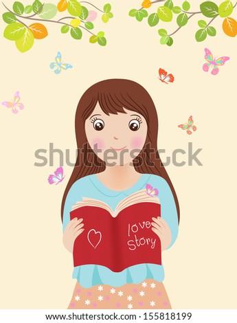 girl reading book' illustrator vintage style - stock vector