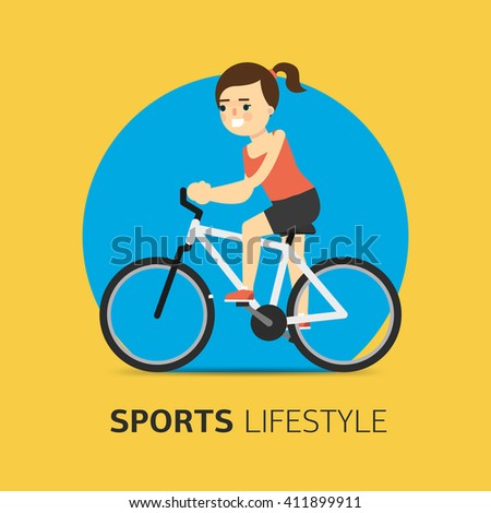 Girl riding a bicycle. Vector illustration. Flat design. Sport lifestyle. Healthy life concept. Fitness symbol.  - stock vector