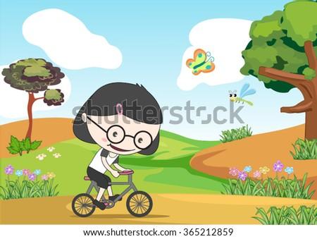 girl riding a bike in the garden - stock vector