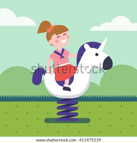 Girl riding a spring horse ride at park playground. Smiling kid character. Modern flat vector illustration clipart. - stock vector