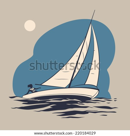 Girl riding on a sailing boat on the sea waves vector illustration - stock vector
