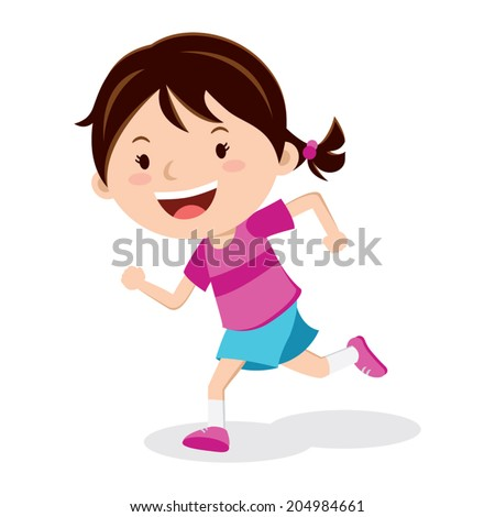 Girl running. Marathon runner or a girl running on school sport day. - stock vector