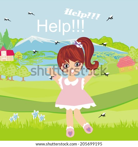 girl runs away from mosquitoes  - stock vector