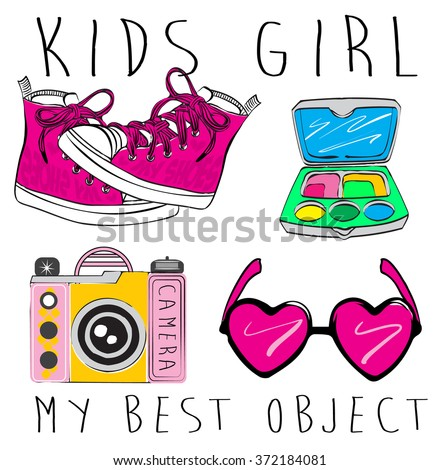 Girl's accessories. Girl signs and symbols. Hand drawn doodle vector set for girls. Modern princess icons. Girlish set. Isolated vector objects. Collection of girl's things. - stock vector