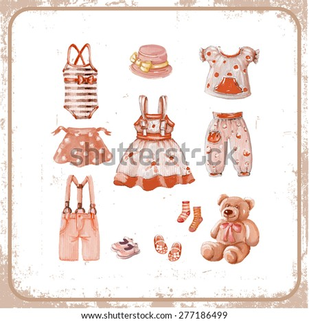 Girl's clothes. Vintage style. Vector illustration. - stock vector
