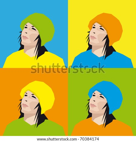 Girl's Face - stock vector