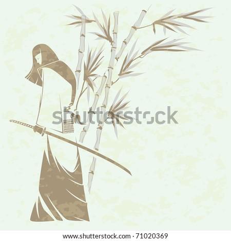 Girl samurai sword under the stalks of bamboo (Grunge removed) - stock vector