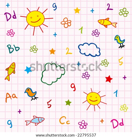 girl school vector seamless with abc drawing sun fish flower and cloud