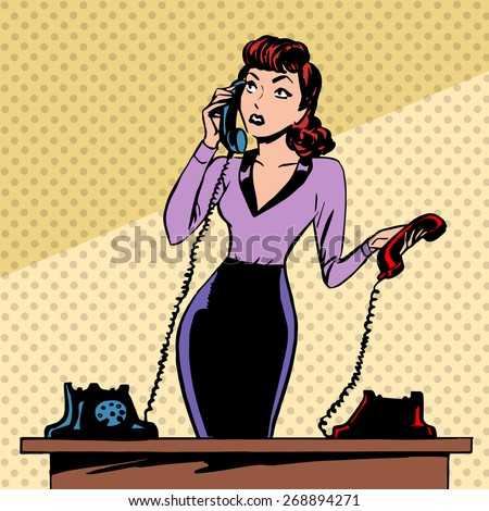 Girl Secretary answers the phone progress and communication technology pop art comics retro style Halftone. Imitation of old illustrations. The old woman lifts the handset and communicates with them - stock vector