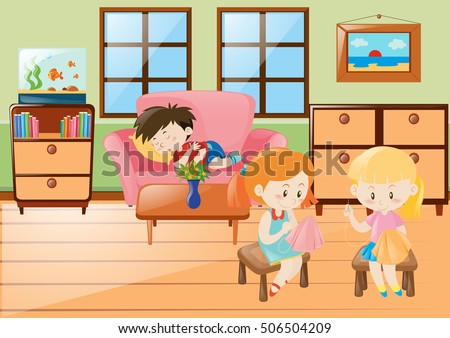 Girl Sewing And Boy Napping In Living Room