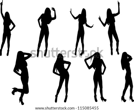 Girl silhouettes - stock vector