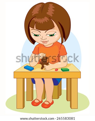 Girl sitting at the table molds from clay, education - stock vector