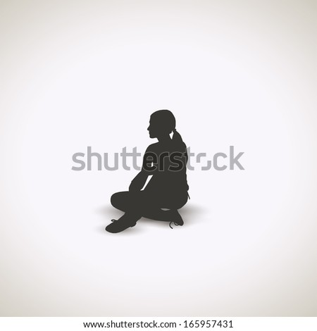 Girl sitting down - vector illustration - stock vector