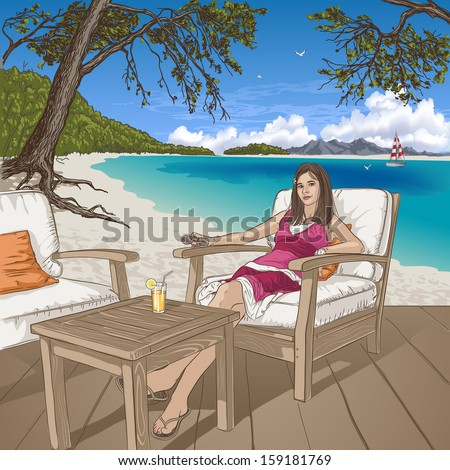 Girl sitting in chair at the beach