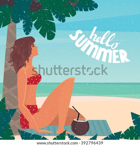 Girl sitting on a beach mat under a palm tree by the sea leaned back on a palm tree - Vacation or holidays concept. Vector illustration - stock vector